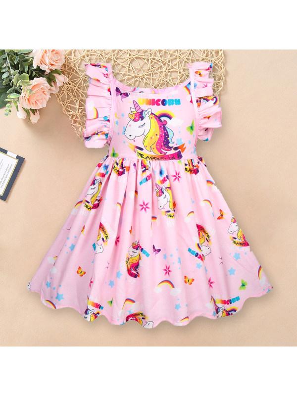 【2Y-9Y】Unicorn Print Sleeveless Backless Short Dress