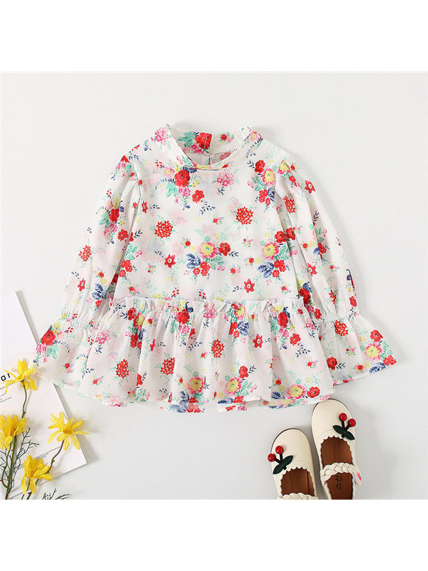 【18M-7Y】Girls' Small Floral Long Sleeve Shirt