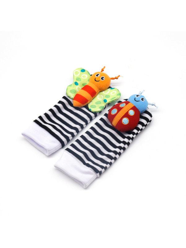Baby Adorable Animal Velcro Closure Rattle Toys Socks Wrist Band