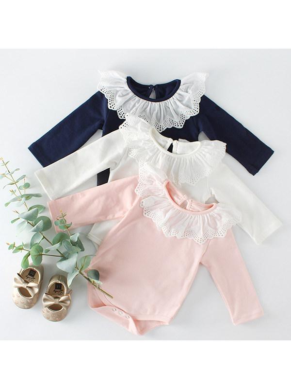 【3M-24M】Girls Baby Lace Collar Bag Fart Romper