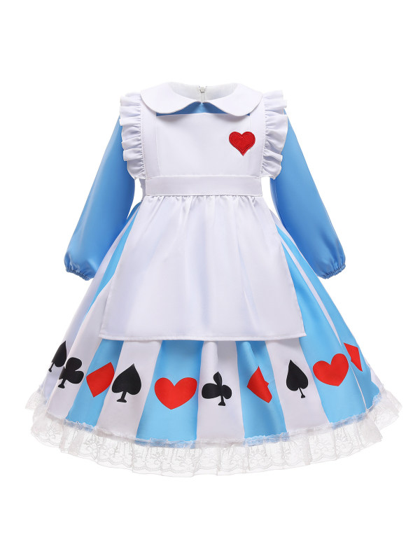 【18M-7Y】Cute Lapel Long Sleeve Blue Princess Dress