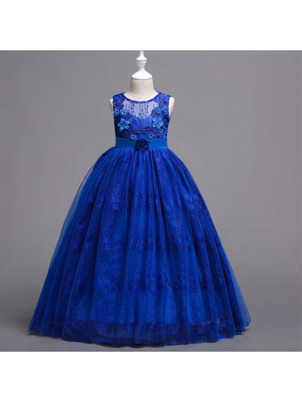 【4Y-15Y】Elegant Round Neck Sleeveless Lace Mesh Long Princess Dress