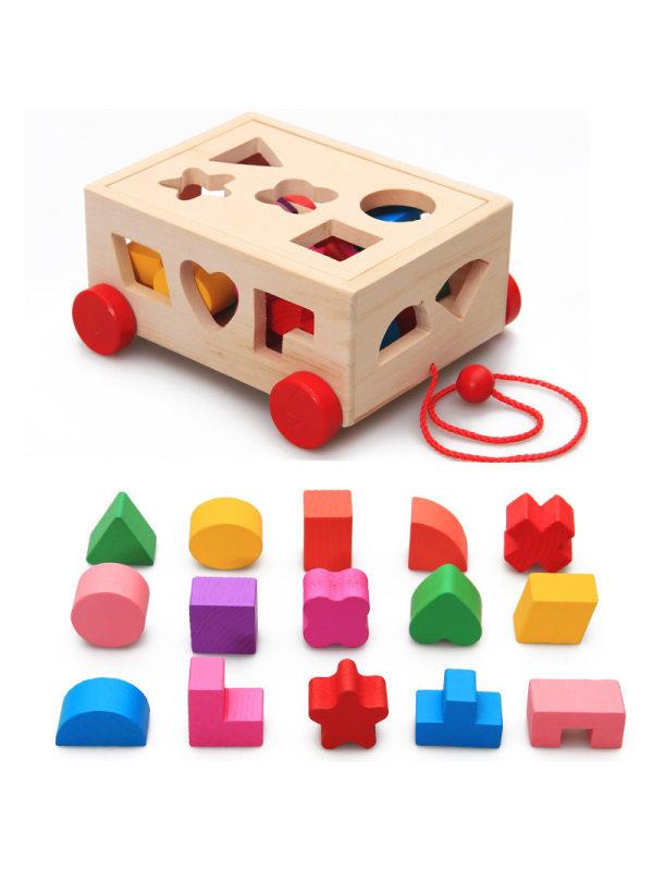 Multifunctional Box Shape Matching Drag Toy
