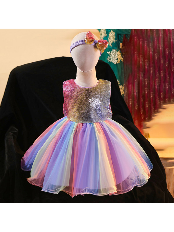 【12M-5Y】Sequined Round Neck Sleeveless Color Mesh Princess Dress