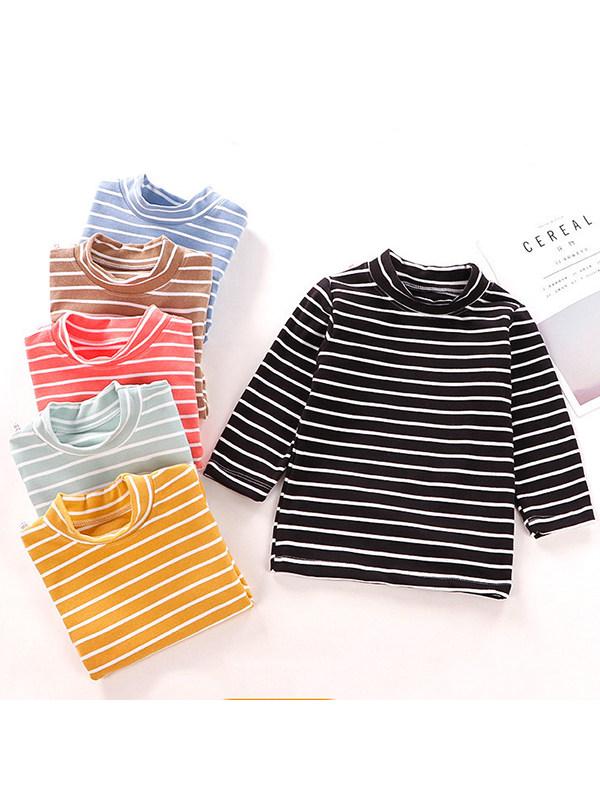 【2Y-9Y】Masonry Velvet Thickened Warm Stripe Shirt