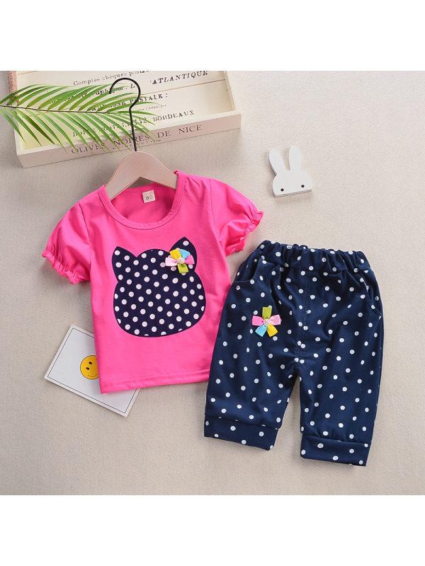 【12M-4Y】Girls Cute Polka Dot Cartoon Pattern Short Sleeve Suit