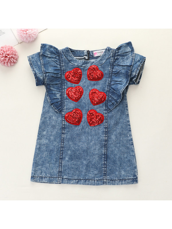 【12M-5Y】Casual Red Sequin Heart Embroidered Blue Short Sleeved Denim Dress - 3350
