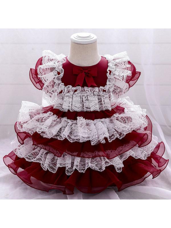 【12M-5Y】Sweet Round Neck  Short Sleeve Multi-layer Mesh Princess Dress