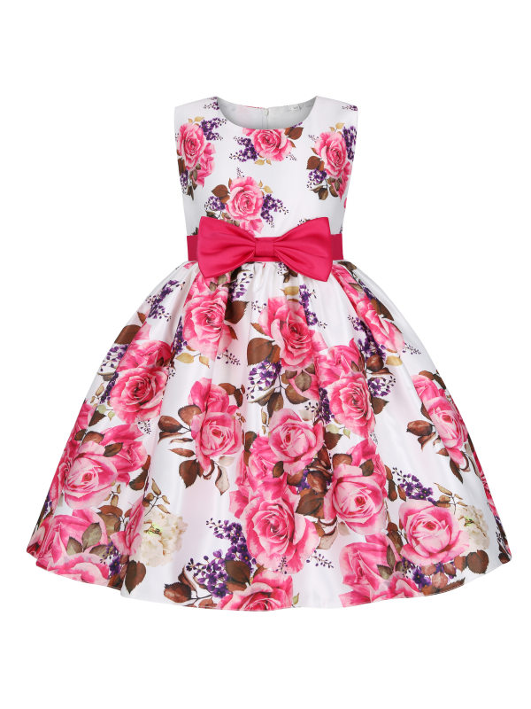 【2Y-11Y】Sweet  Bow Tie Round Neck Sleeveless Flower Print Short Sleeve Dress