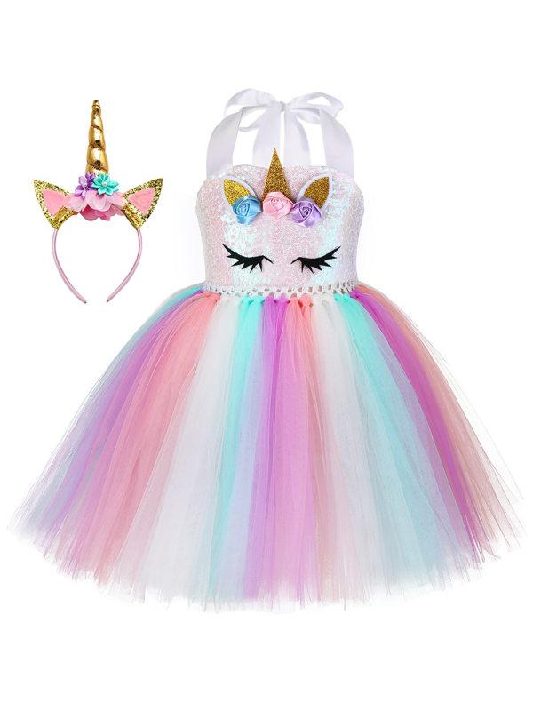 【12M-7Y】Girl Sweet Unicorn Sequin Rainbow Mesh Princess Dress With Hair Accessories