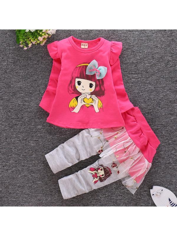【12M-4Y】Girls Sweet Cartoon Print Round Neck T-Shirt Set