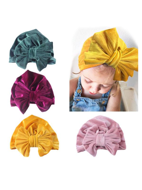 Baby Photo Souvenir Props Bow Gold Velvet Turban Hat