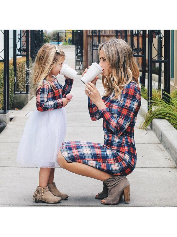 Round Neck Long Sleeve Plaid Tulle Stitching Mom Girl Matching Dress