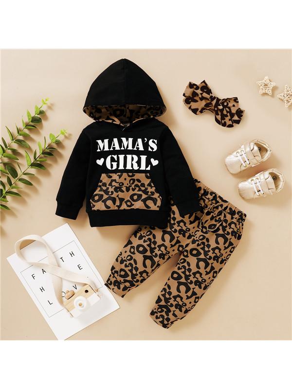 【6M-4Y】Girls Leopard Print Hooded Suit