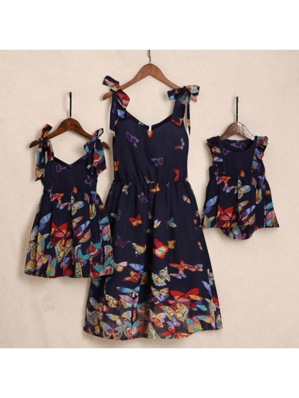 Sweet Butterfly Printed Pleated Cami Mom Girl Matching Dress
