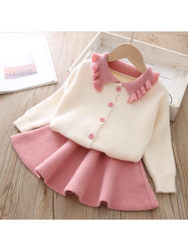 【12M-5Y】Girls Lapel Long Sleeve Cardigan Short Skirt Suit