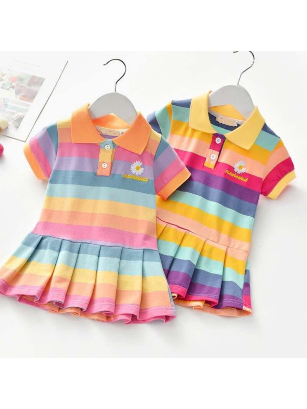 【18M-7Y】Girl Sweet Flower Embroidery Color Striped Lapel Short Sleeve Dress