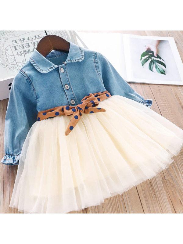 【18M-7Y】Girl Sweet Denim Mesh Lapel Long Sleeve Dress