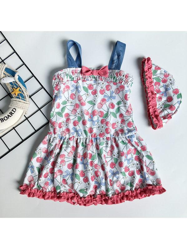 【2Y-7Y】Girls Sweet Full Print Cherry Bow Sling Swimsuit