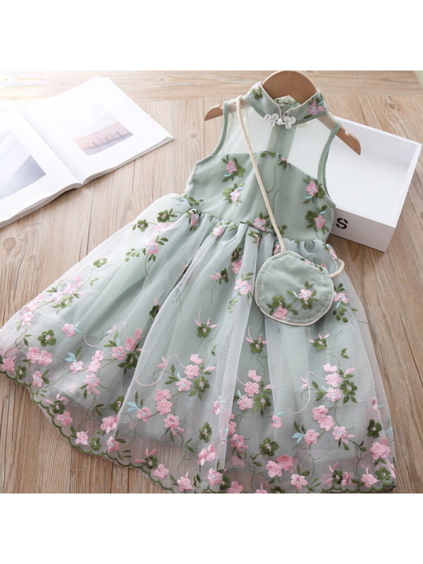 【2Y-9Y】Girls Embroidered Flower Mesh Sleeveless Dress With Bag - 3345