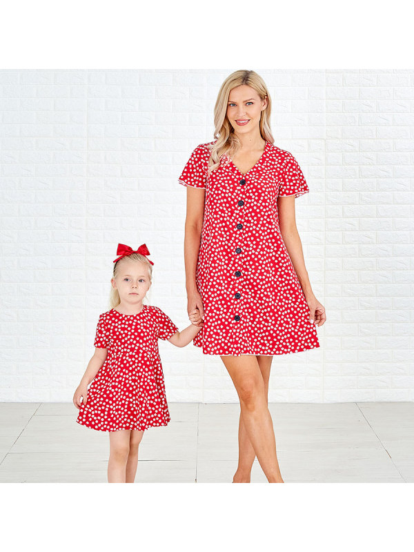 Short Sleeve Red Floral Printed Mom Girl Matching Dress