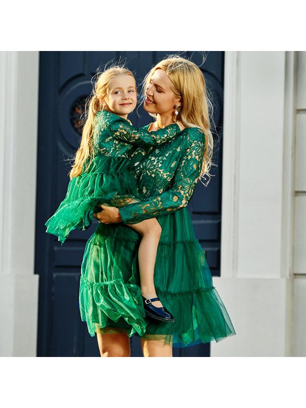 Round Neck Long Sleeve Lace Mom Girl Matching Dress - 1345