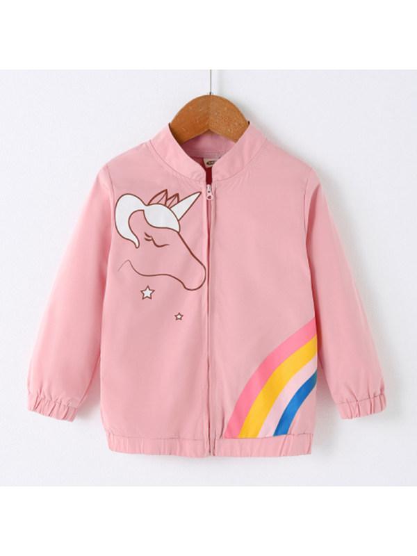 【18M-7Y】Girl Sweet Unicorn Pattern Pink Jacket