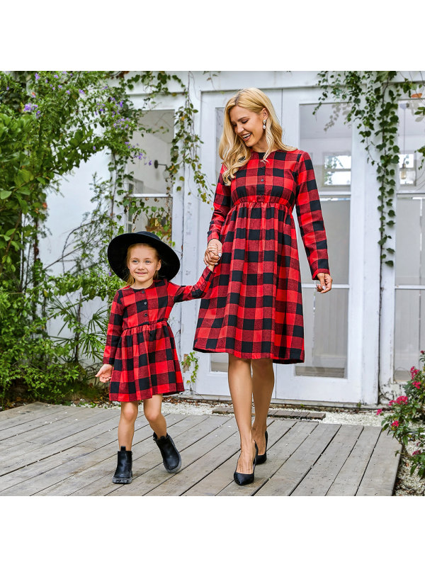 Round Neck Long Sleeve Red Plaid Mom Girl Matching Midi Dress