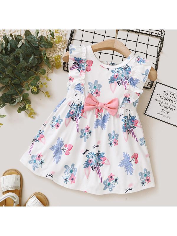 【6M-2.5Y】Girl Sweet White Flowers Round Neck Bow Ruffle Dress