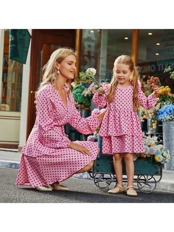 Long Sleeve Pink Polka Dot Print Mom Girl Matching Dress - 1314