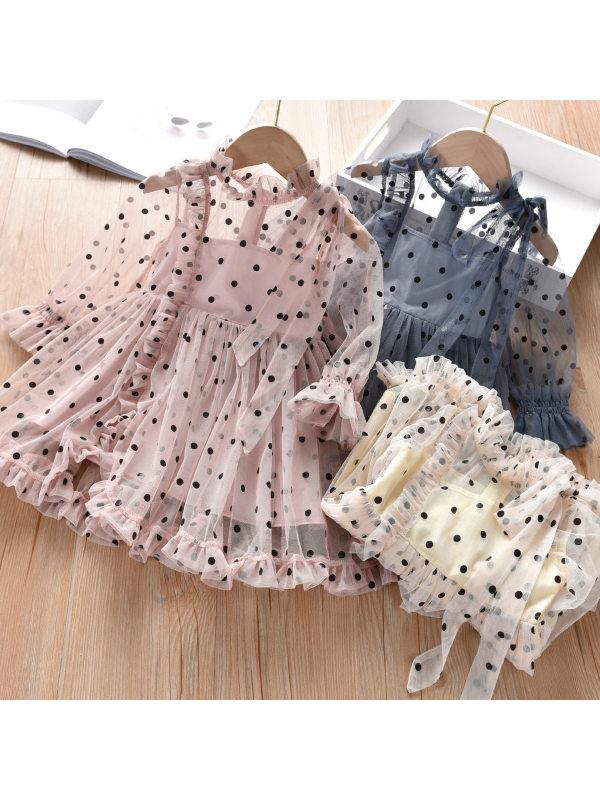 【18M-7Y】Girls Long Sleeve Polka Dot Mesh Dress