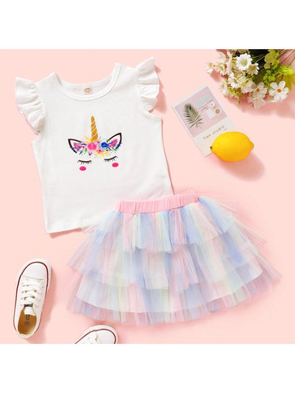 【18M-7Y】Cute Unicorn Print White T-shirt and Colorful Mesh Skirt Sets