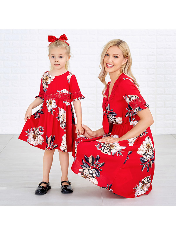 Flower Print Short Sleeve Mom Girl Matching Dress