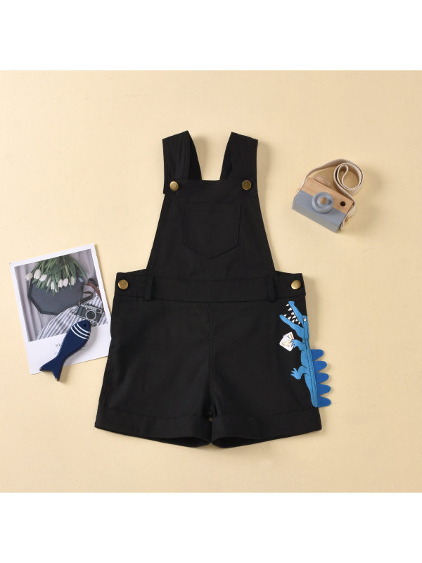 【18M-7Y】Boys Button Animal Print Open-pocket Overalls