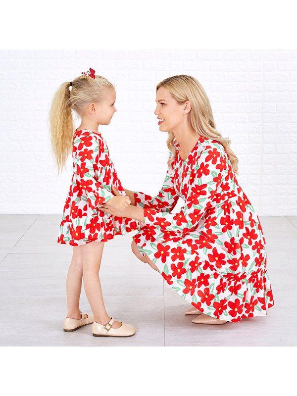 Round Neck Bell Sleeve Floral Mom Girl Matching Dress