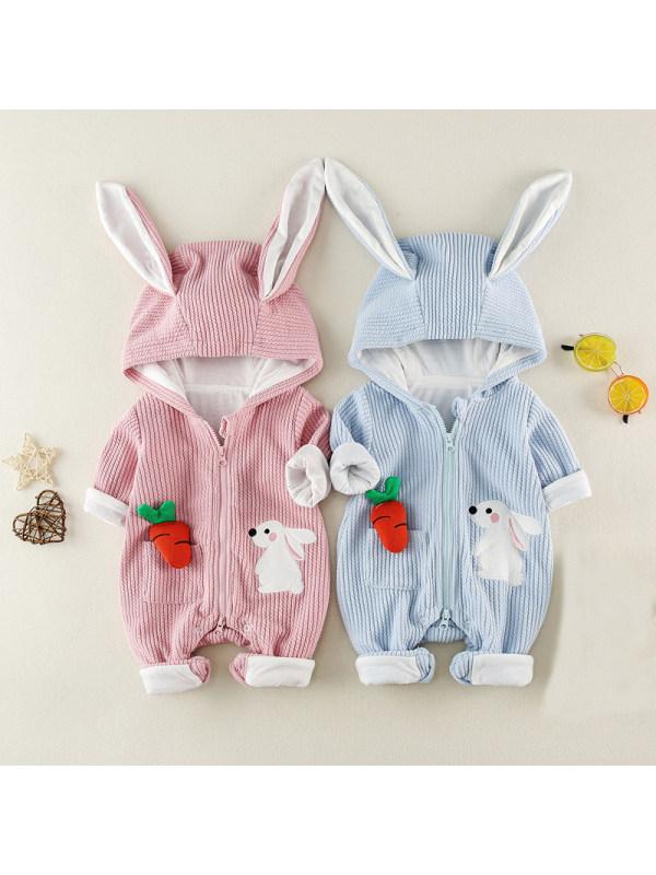 【3M-24M】Baby Cute Cartoon Bunny One-Piece Hooded Romper