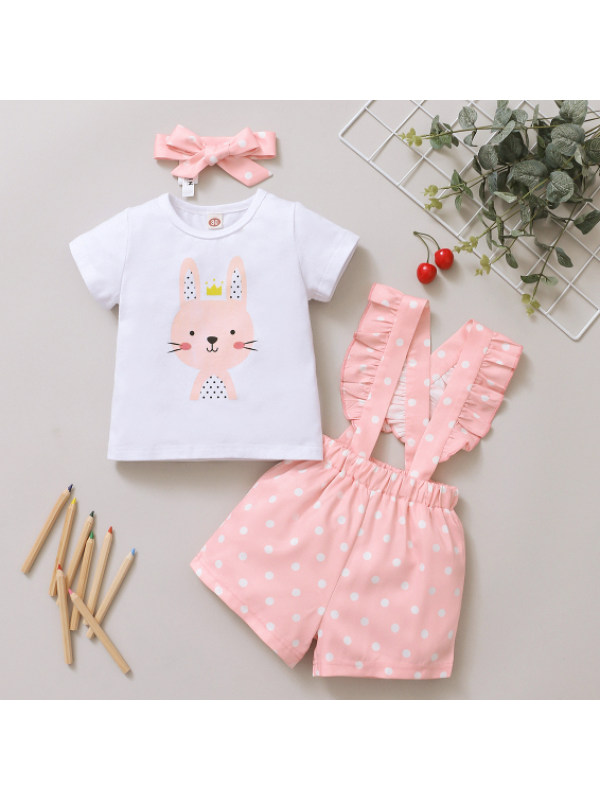 【6M-2.5Y】Cute Cartoon Rabbit Print White T-shirt and Pink Shorts Set