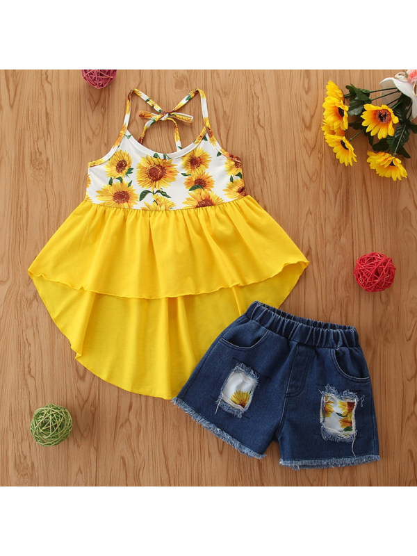 【18M-7Y】Floral Print Yellow Top and Blue Jeans Set