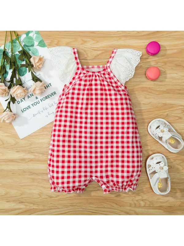 【3M-24M】Baby Girl Cute Sweet Lace Plaid Stitching Romper