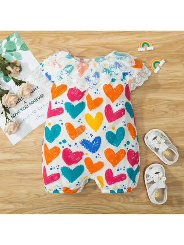 【0M-18M】Baby Girls Cute Sweet Lace Color Heart Pattern Romper