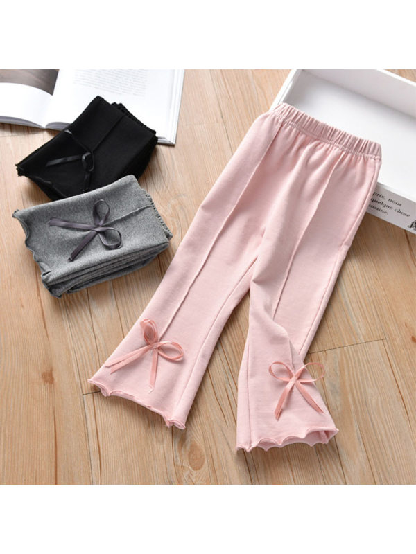 【2Y-9Y】Girls Casual All-match Cotton Bow Leggings Flared Pants
