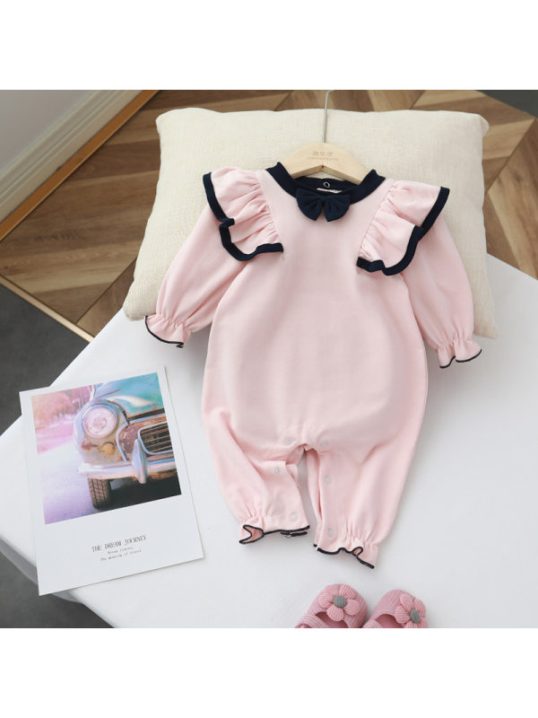 【0M-24M】Baby Girls Sweet Bow Lace Cotton One-piece Romper