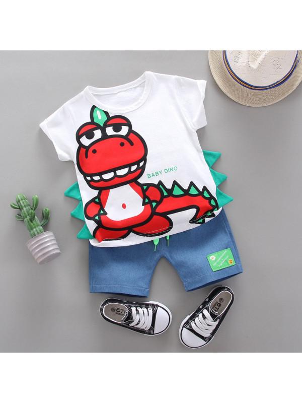 【12M-4Y】Boys Cartoon Dinosaur Print Tshirt And Denim Shorts Set