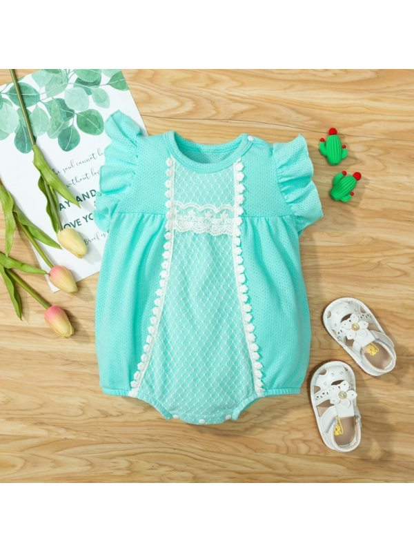 【3M-24M】Baby Girls Sweet Lace Sleeves One-piece Romper
