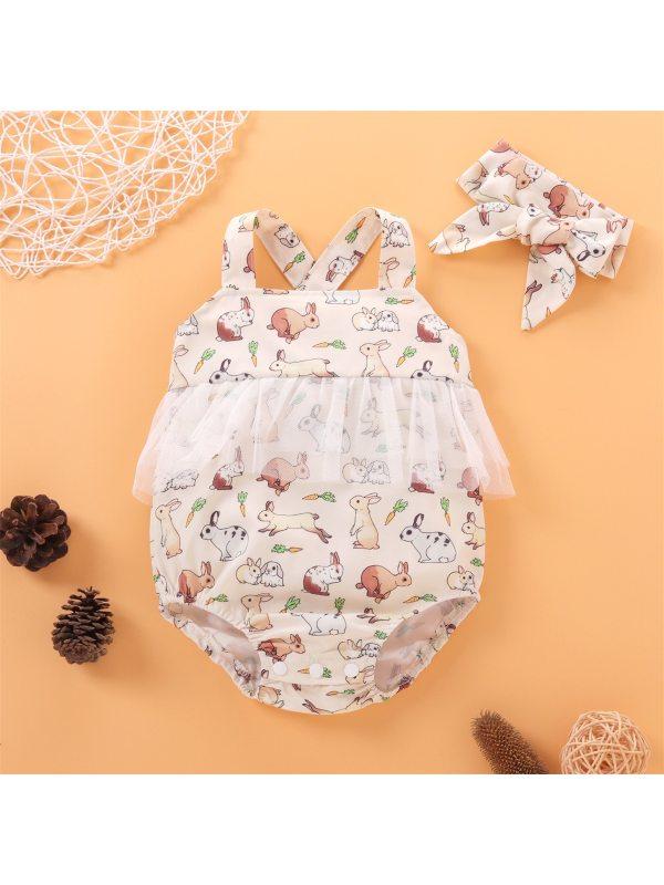 【0M-12M】Baby Girls Cute Bunny Full Printed Suspender Romper