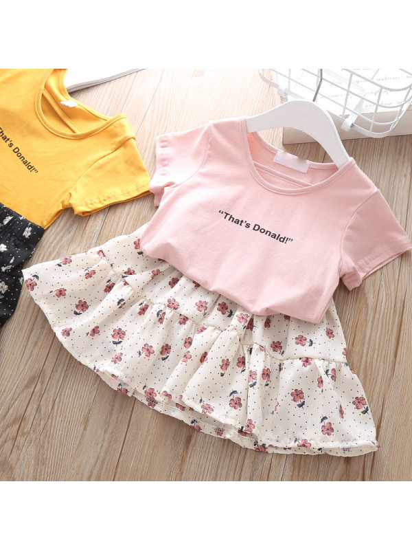 【2Y-9Y】Sweet Letter T-shirt and Flower Skirt Set