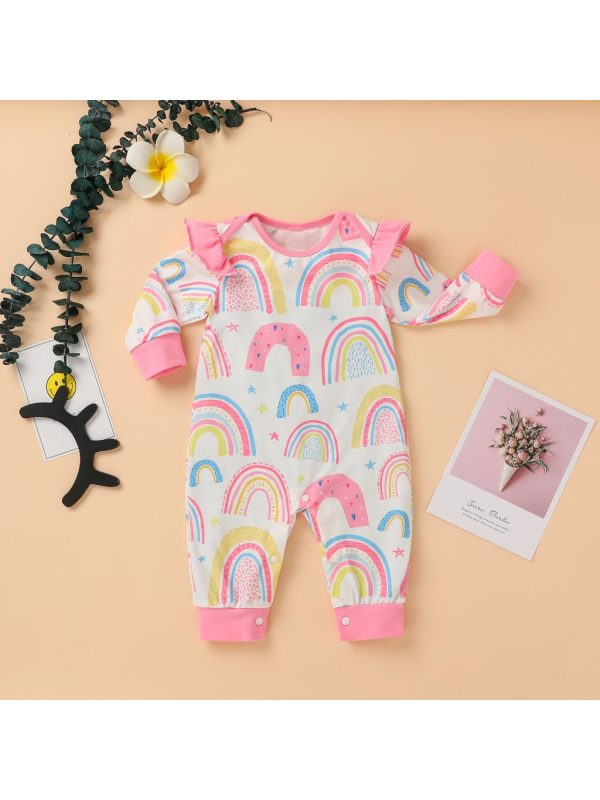 【0M-12M】Baby Girl Rainbow Full Printed Long Sleeve Romper