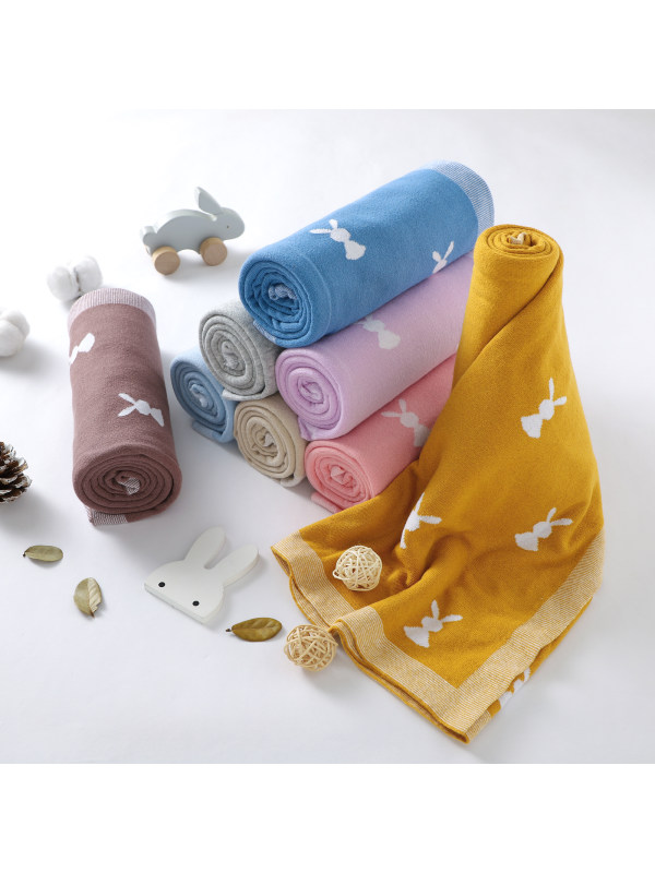 Cute Rabbit Baby Knitting Blanket Quilt