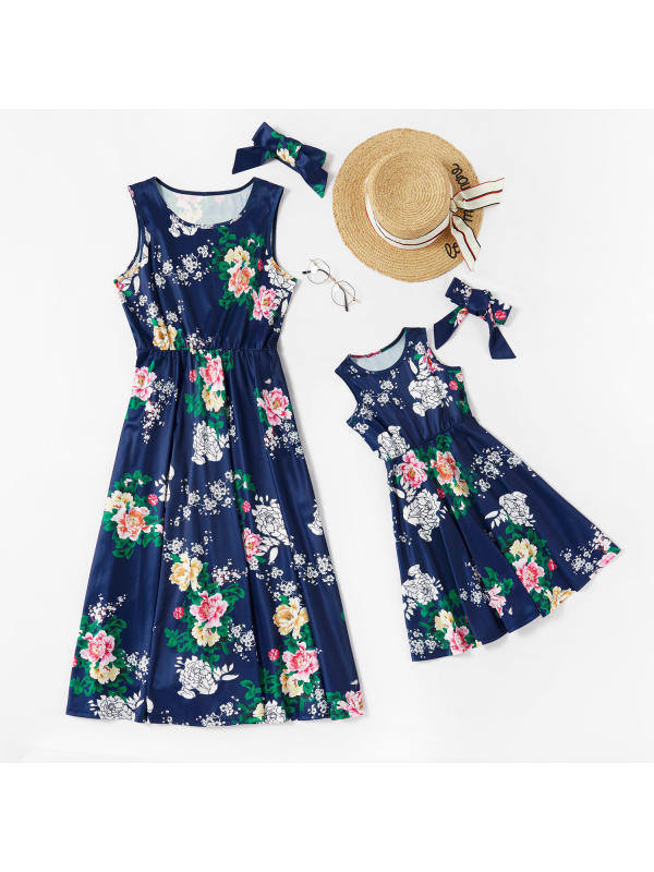 Round Neck Sleeveless Flower Print Mom Girl Matching Dresses