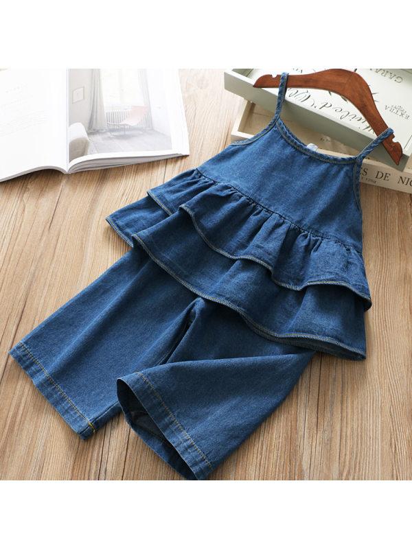 【18M-7Y】Sweet Blue Denim Suspender Top and Pants Set
